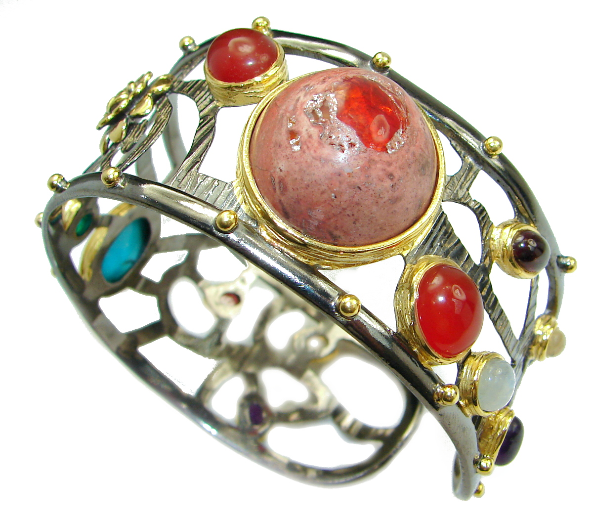 Attraction Mexican Opal Rose Gold Rhodium over .925 Sterling Silver Bracelet / Cuff