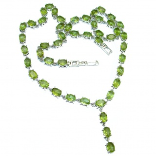 Masterpiece Peridot Rhodium over .925 Sterling Silver handcrafted necklace