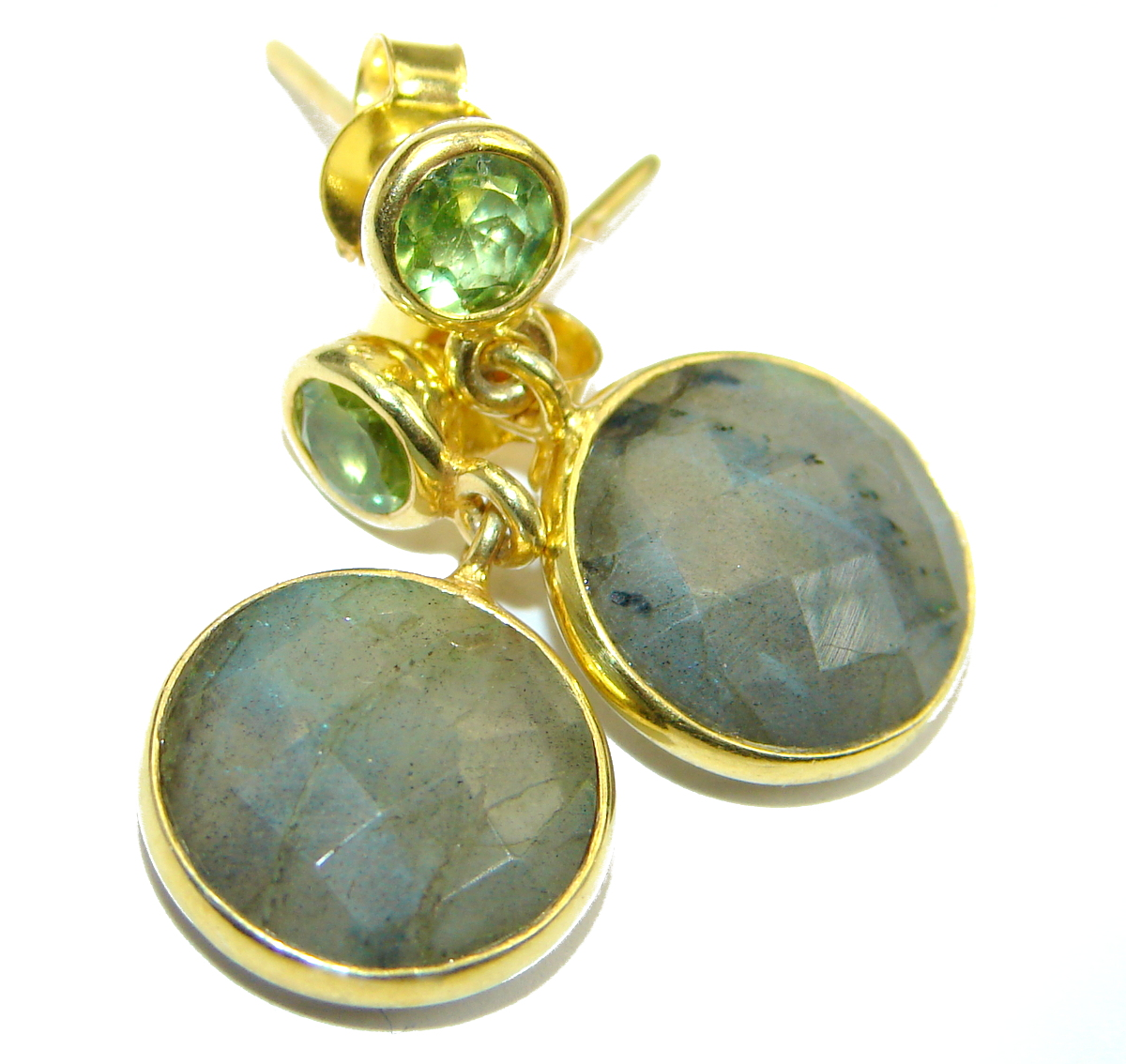 Perfect Labradorite Gold over .925 Sterling Silver handmade earrings