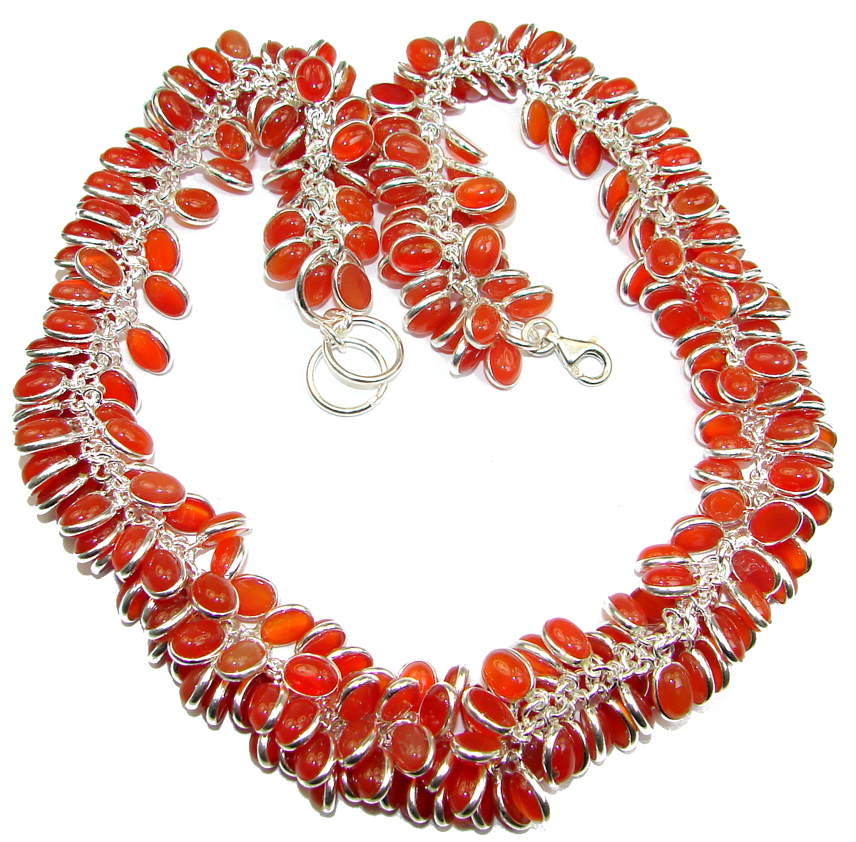 Aura Of Beauty Genuine Carnelian Agate .925 Sterling Silver handmade necklace