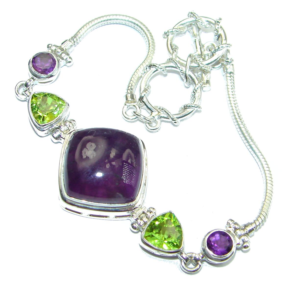 Luxury Genuine Amethyst .925 Sterling Silver handmade Bracelet