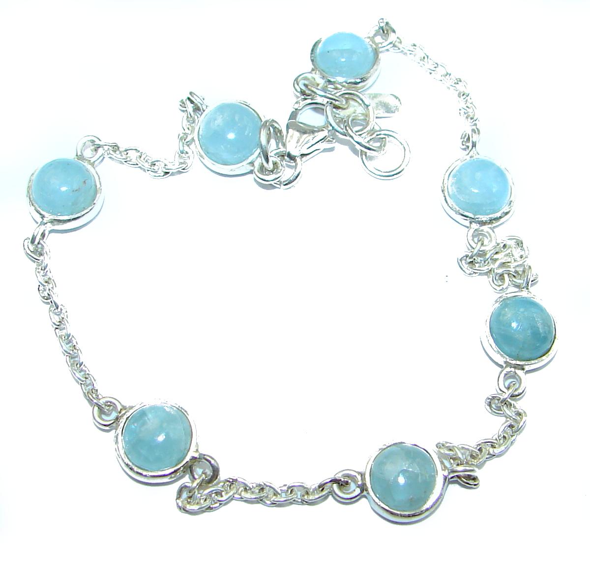 Natural Aquamarine .925 Sterling Silver handmade Bracelet
