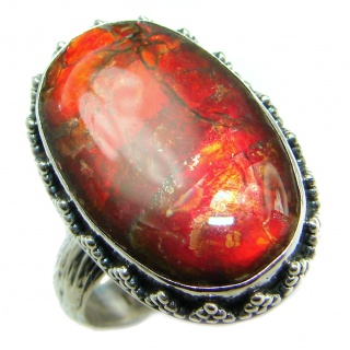 Pure Energy Genuine Canadian Ammolite .925 Sterling Silver handmade ring size 6 adjustable