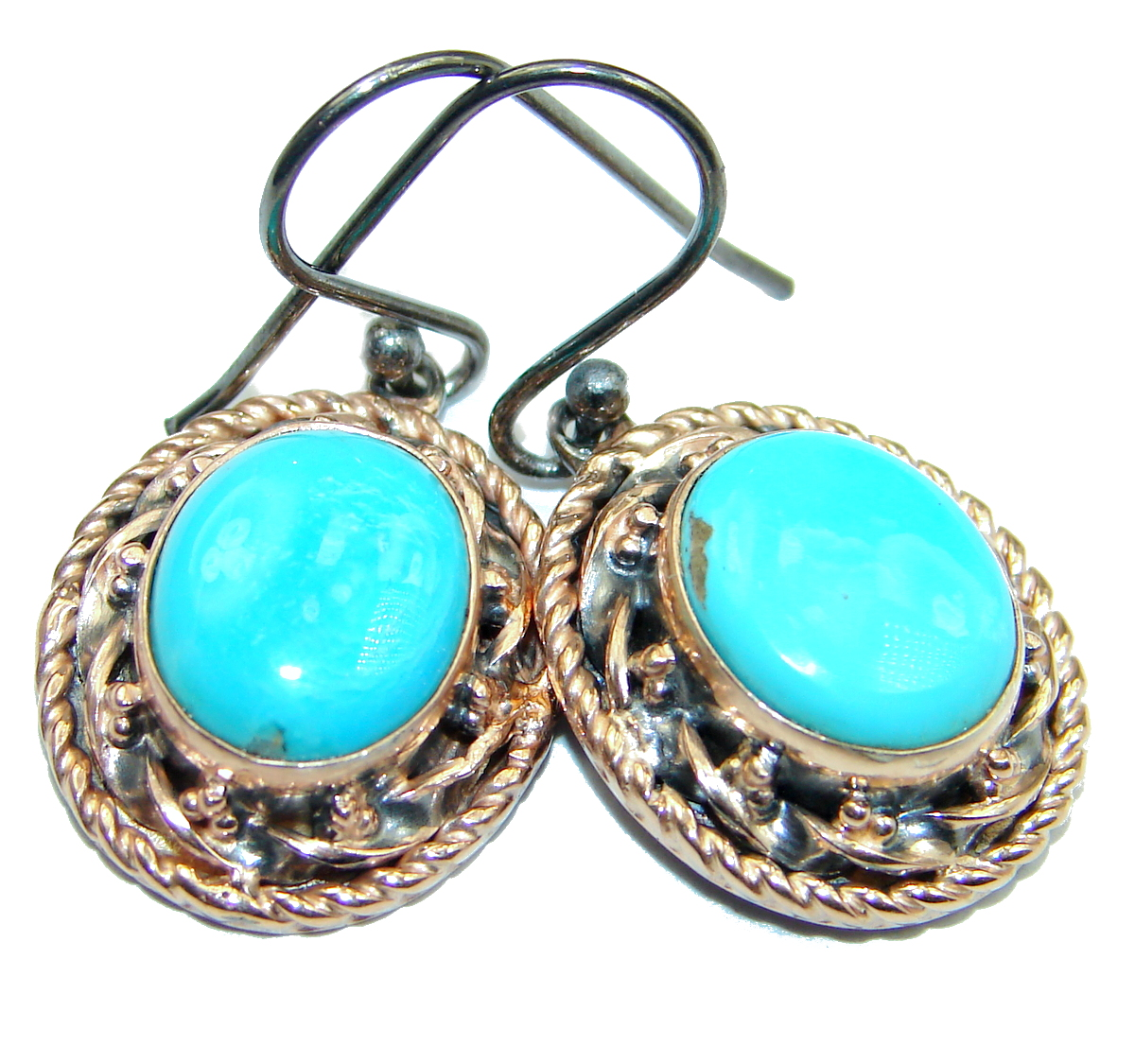 Genuine Sleeping Beauty Turquoise Gold Rhodium over .925 Sterling Silver handmade earrings