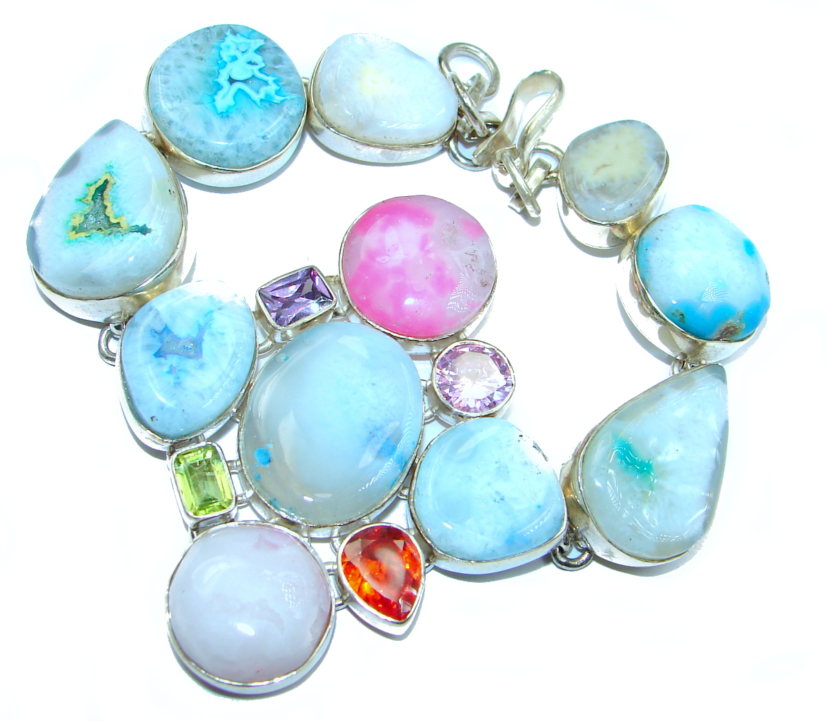 Large Aura Of Beauty Agate Druzy .925 Sterling Silver handcrafted Bracelet
