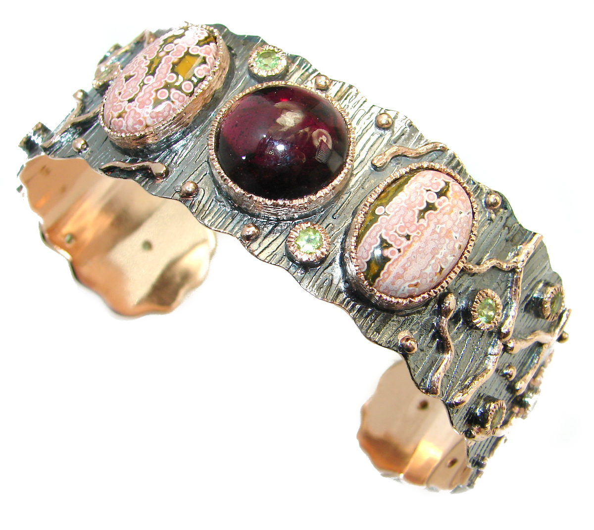 Genuine genuine Garnet Rose Gold plated over .925 Sterling Silver handcrafted Bracelet / Cuff