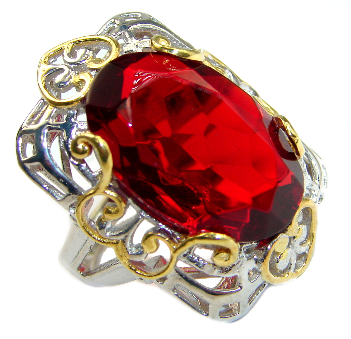 Ruby color Quartz Topaz two tones .925 Sterling Silver handcrafted Ring s. 6 1/4