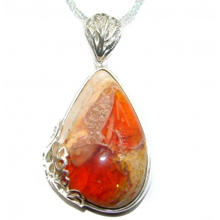 Sweet Heart Mexican Fire Opal .925 Sterling Silver handmade Necklace