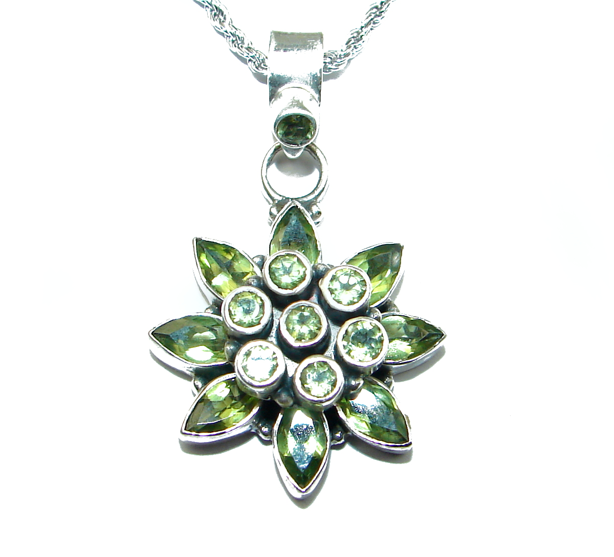 Fancy Peridot .925 Sterling Silver handcrafted necklace