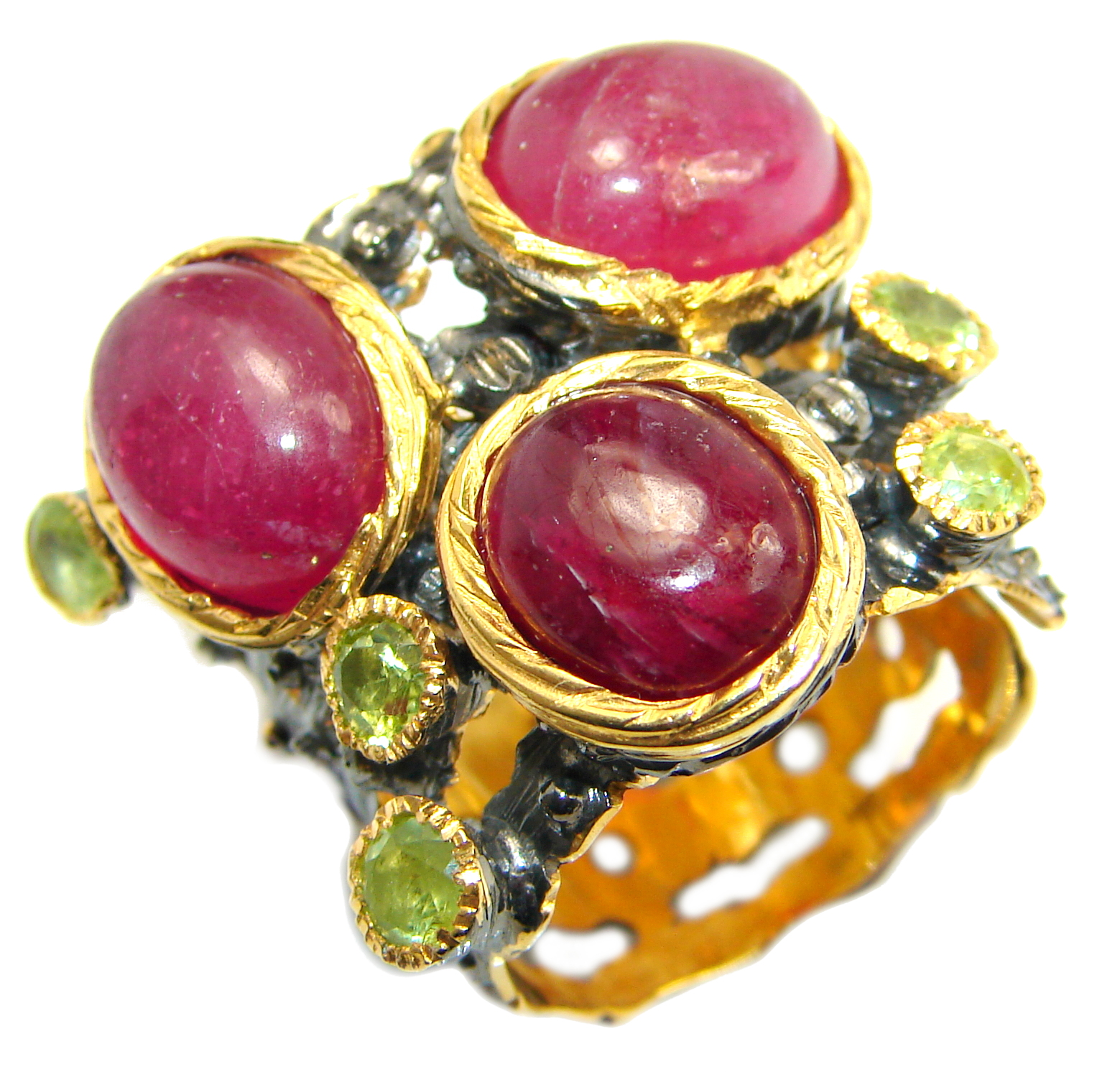 Large genuine Ruby 14K Gold over .925 Sterling Silver Statement ring; s. 8 3/4
