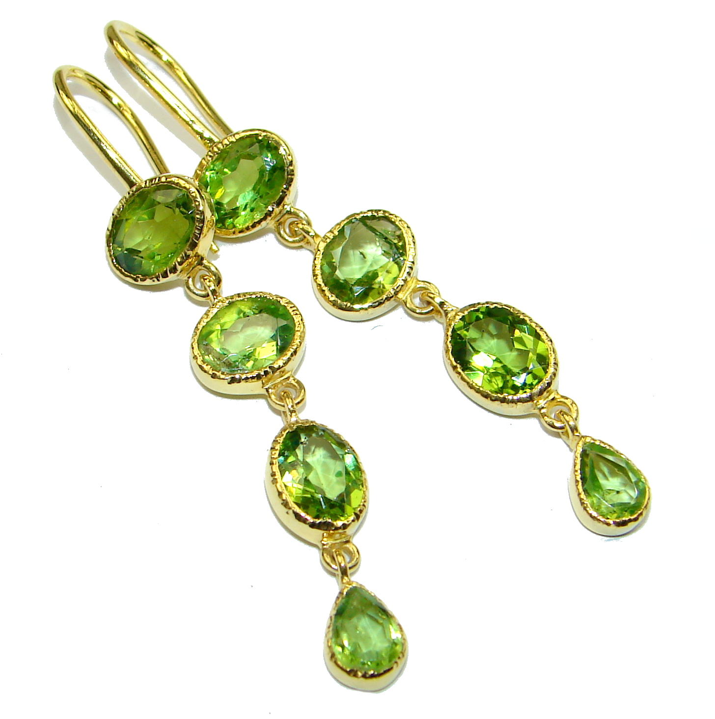 Rich Design Peridot 14K Gold over .925 Sterling Silver handcrafted earrings