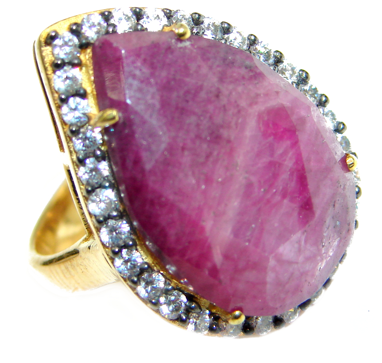Large genuine Ruby 14K Gold over .925 Sterling Silver Statement ring; s. 7