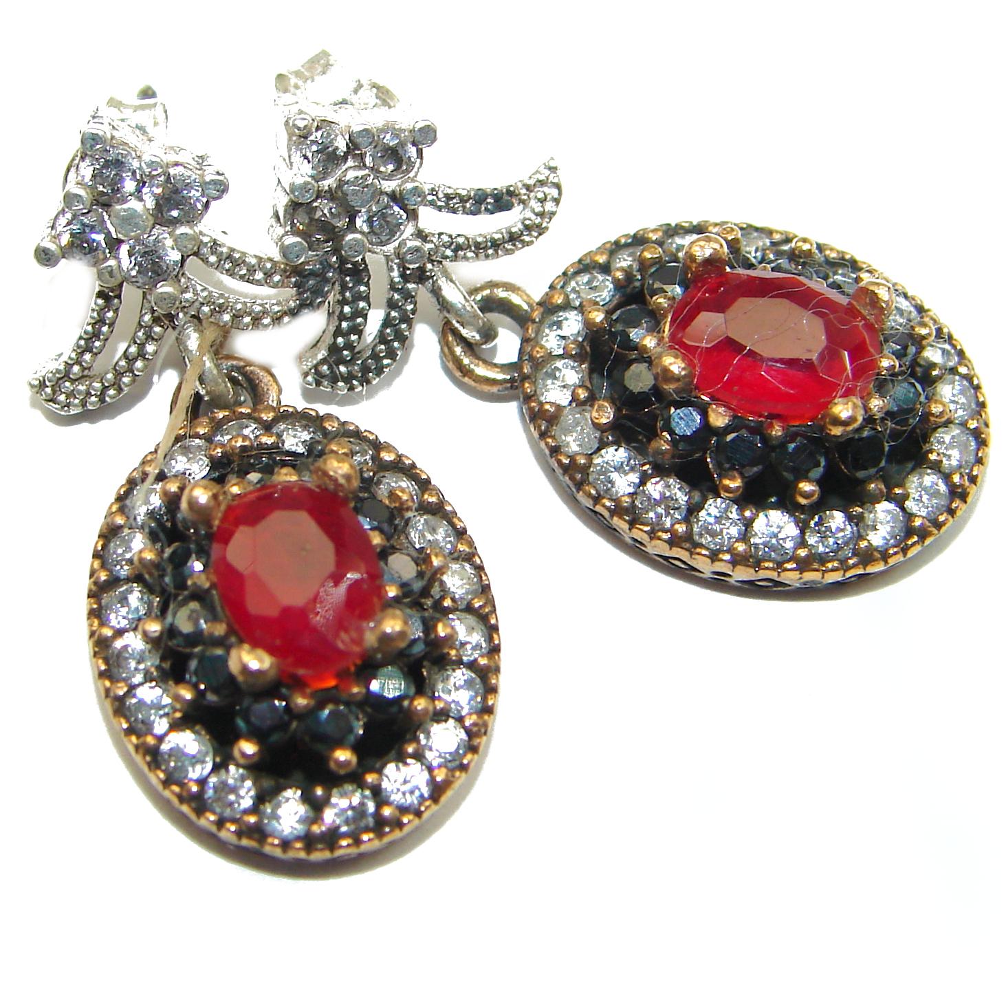 Trendy created Ruby .925 Sterling Silver handmade earrings