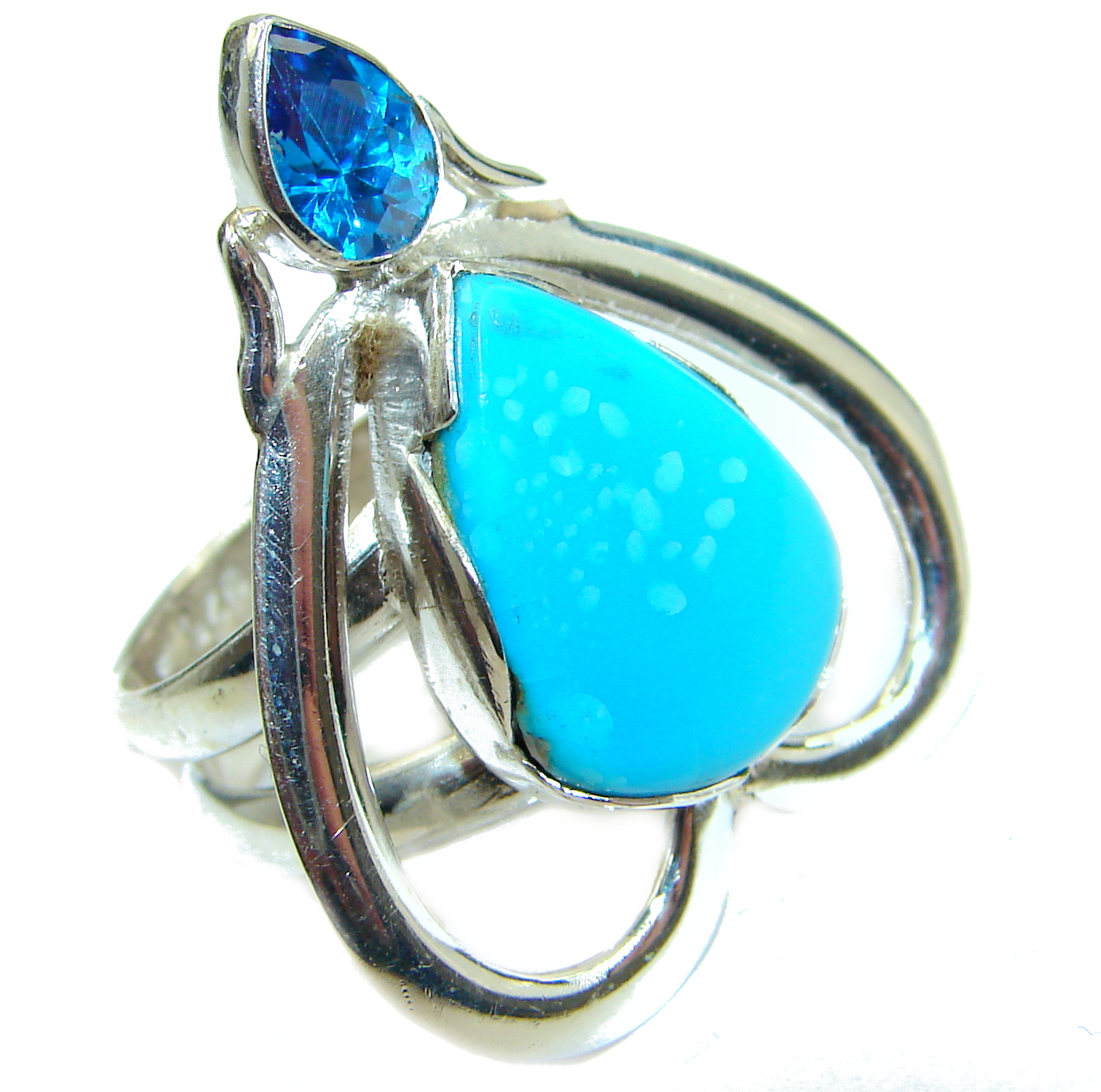 Genuine Sleeping Beauty Turquoise .925 Sterling Silver Ring size 6