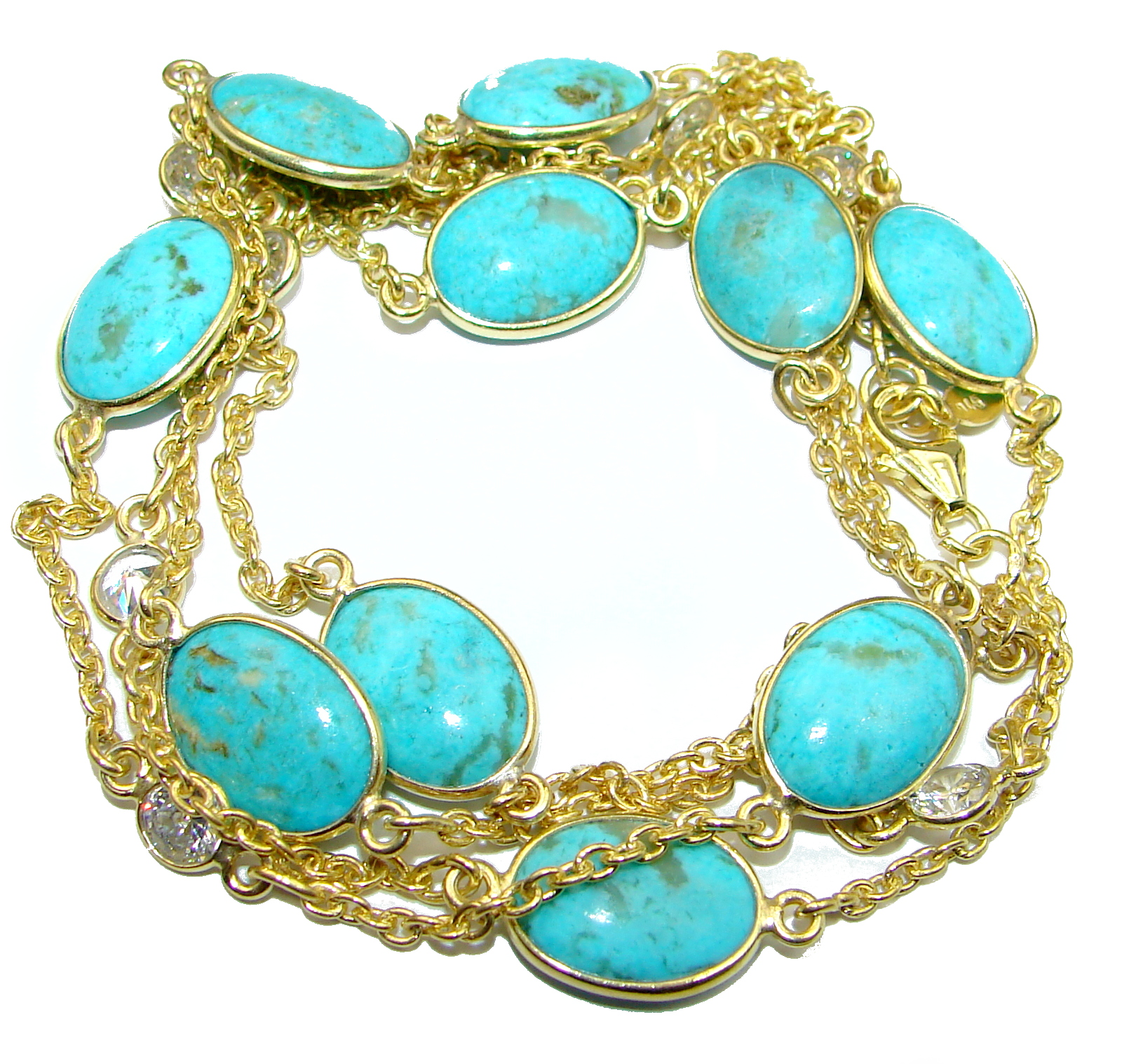 36 inches Genuine Turquoise 14K Gold over .925 Sterling Silver handmade Station Necklace