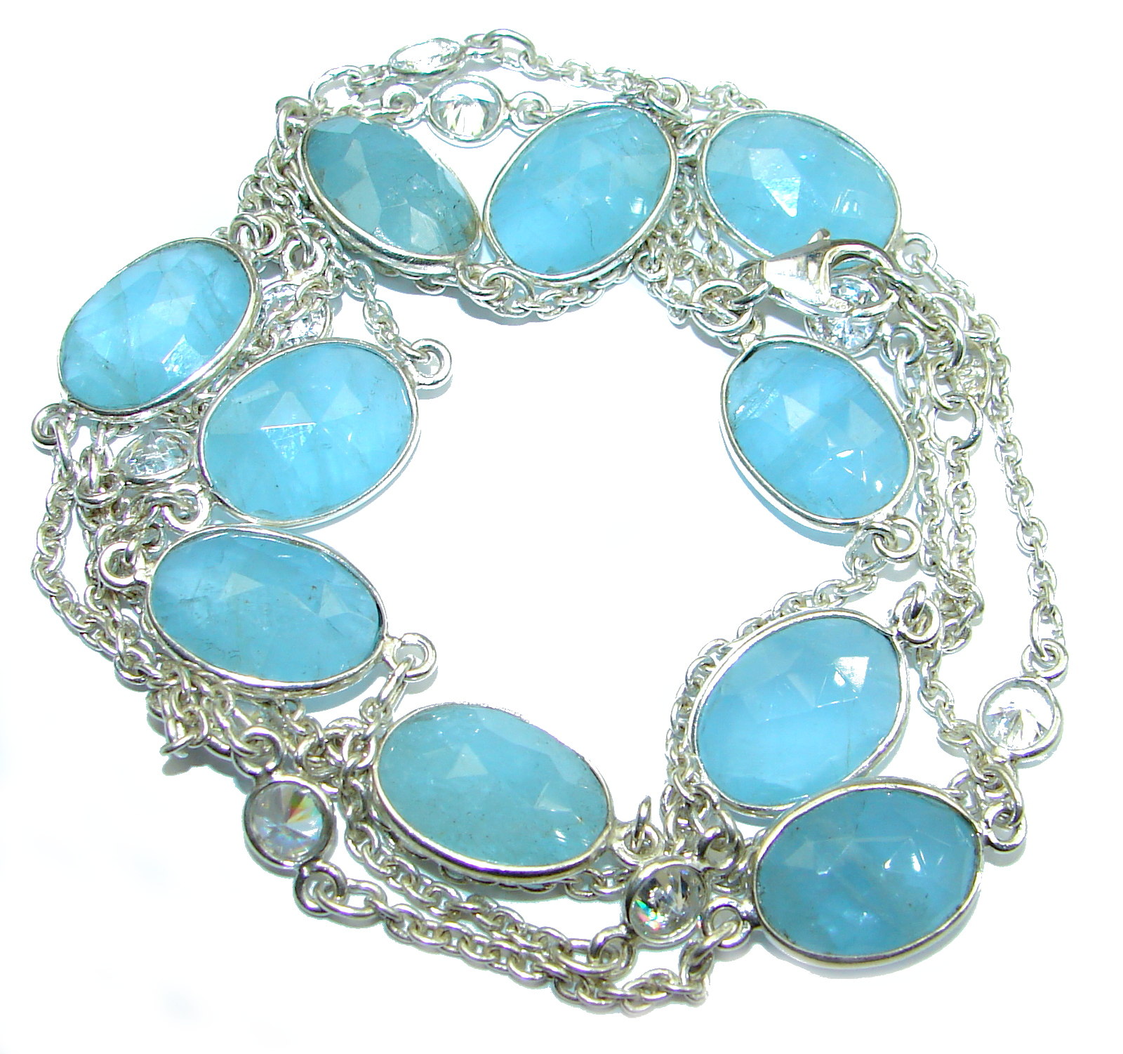 36 inches genuine Aquamarine White Topaz .925 Sterling Silver handmade station Necklace