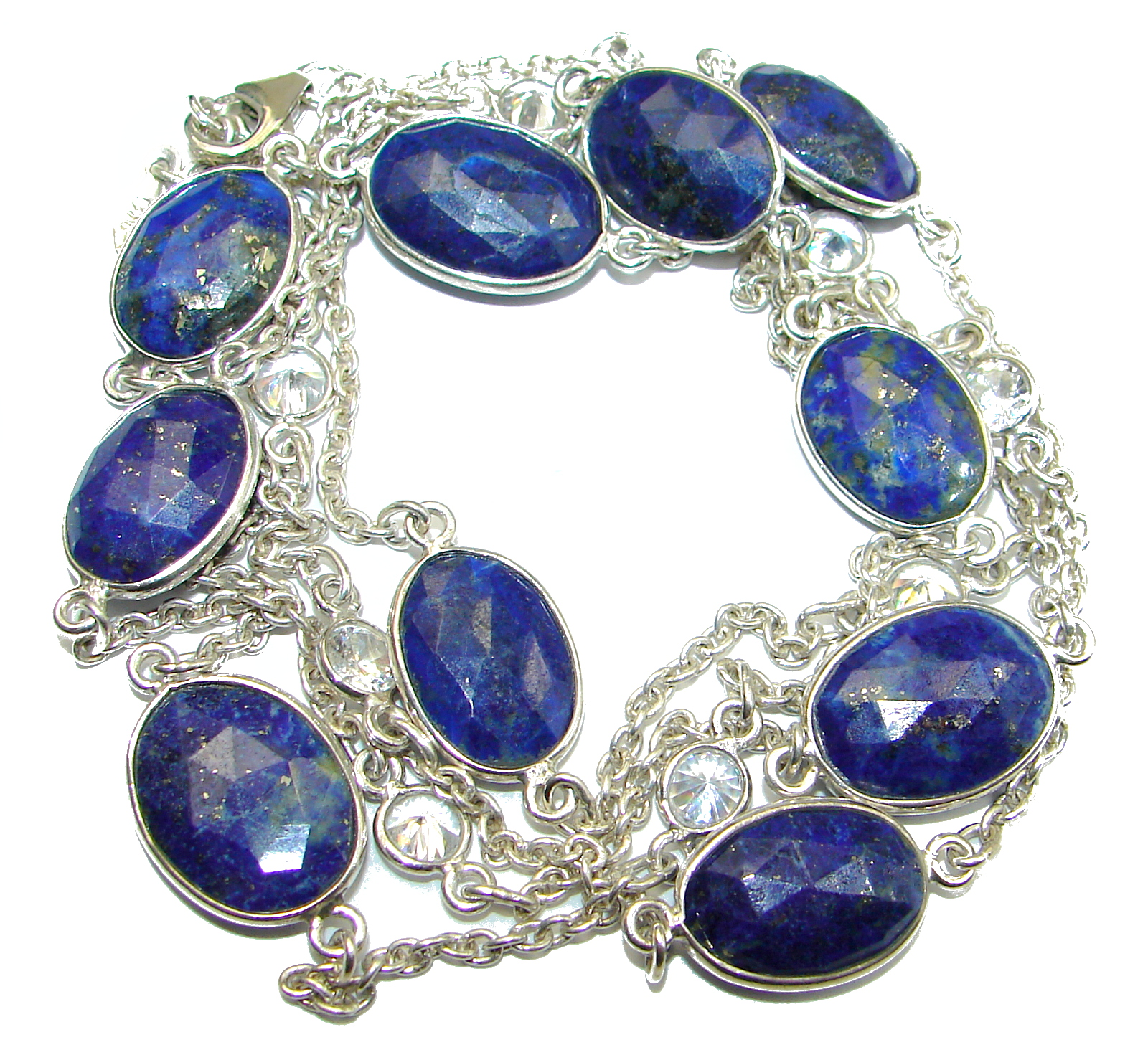 36 inches genuine Lapis Lazuli .925 Sterling Silver Station Necklace