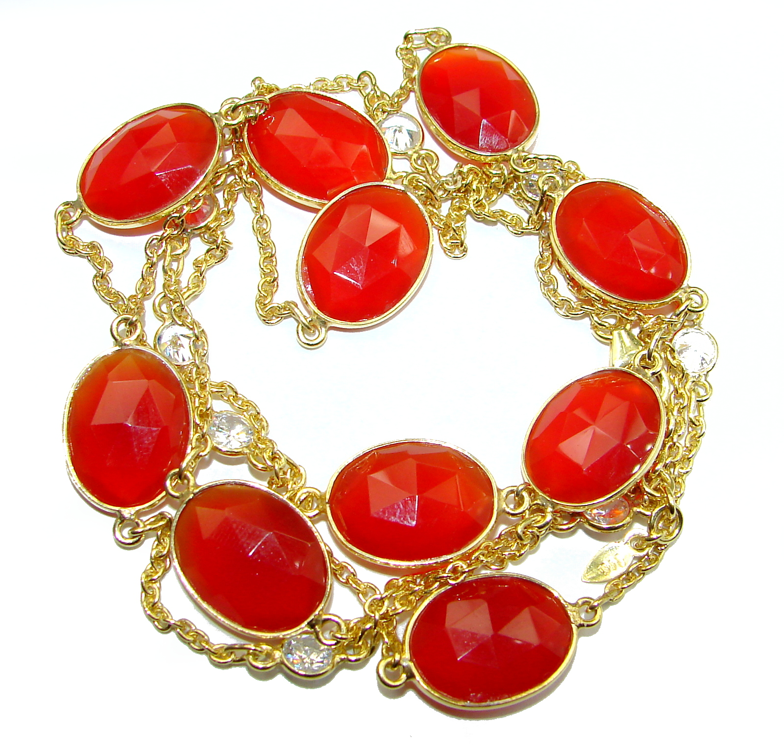 36 inches genuine Carnelian Gold .925 Sterling Silver handcrafted Station Necklace