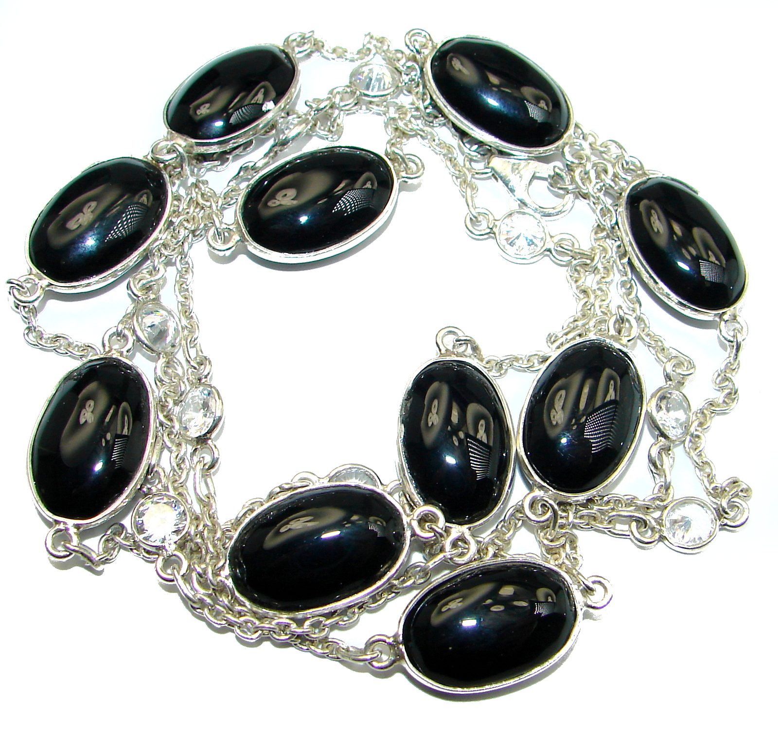 36 inches Genuine Onyx Stones .925 Sterling Silver handcrafted Station Necklace