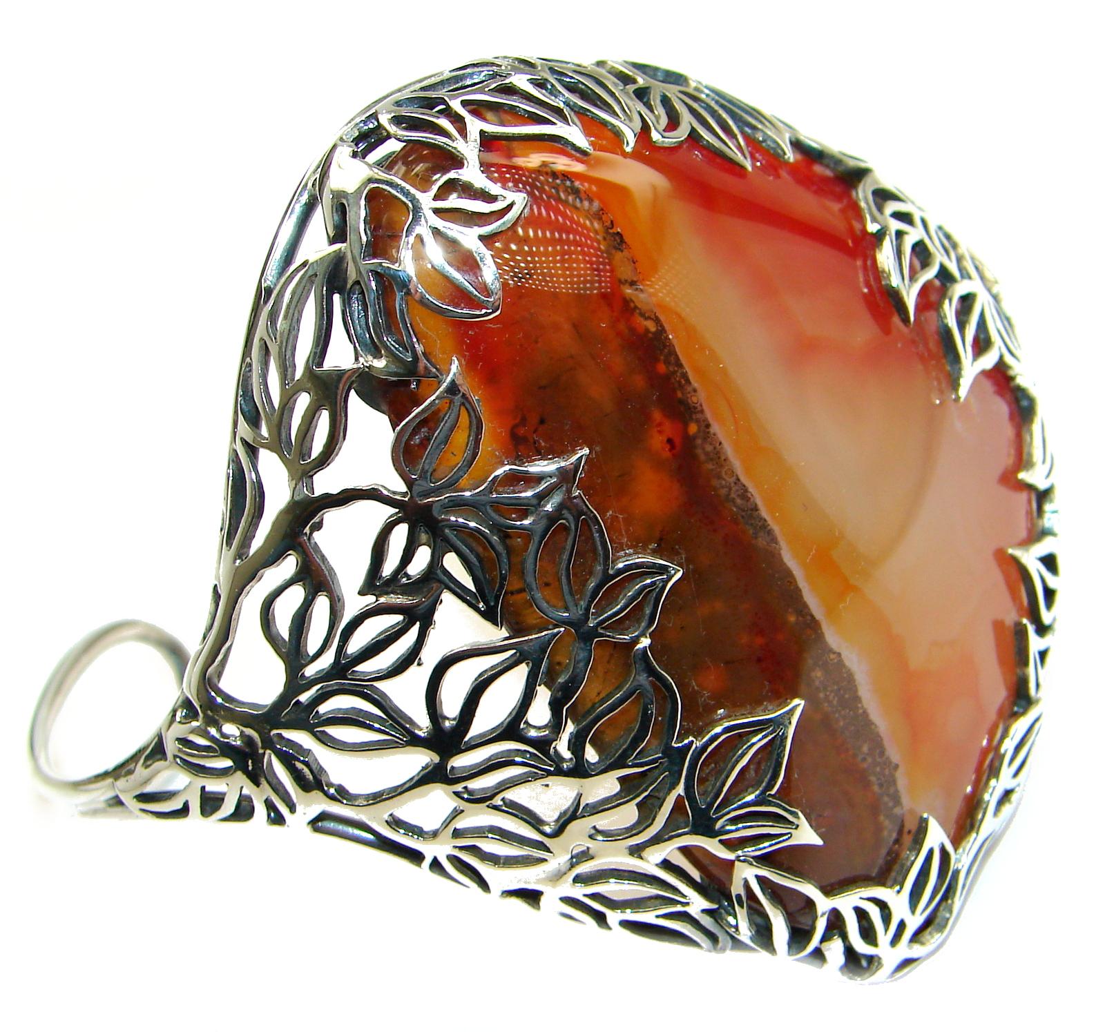 Huge Orange Fire Botswana Agate oxidized .925 Sterling Silver Cuff/Bracelet