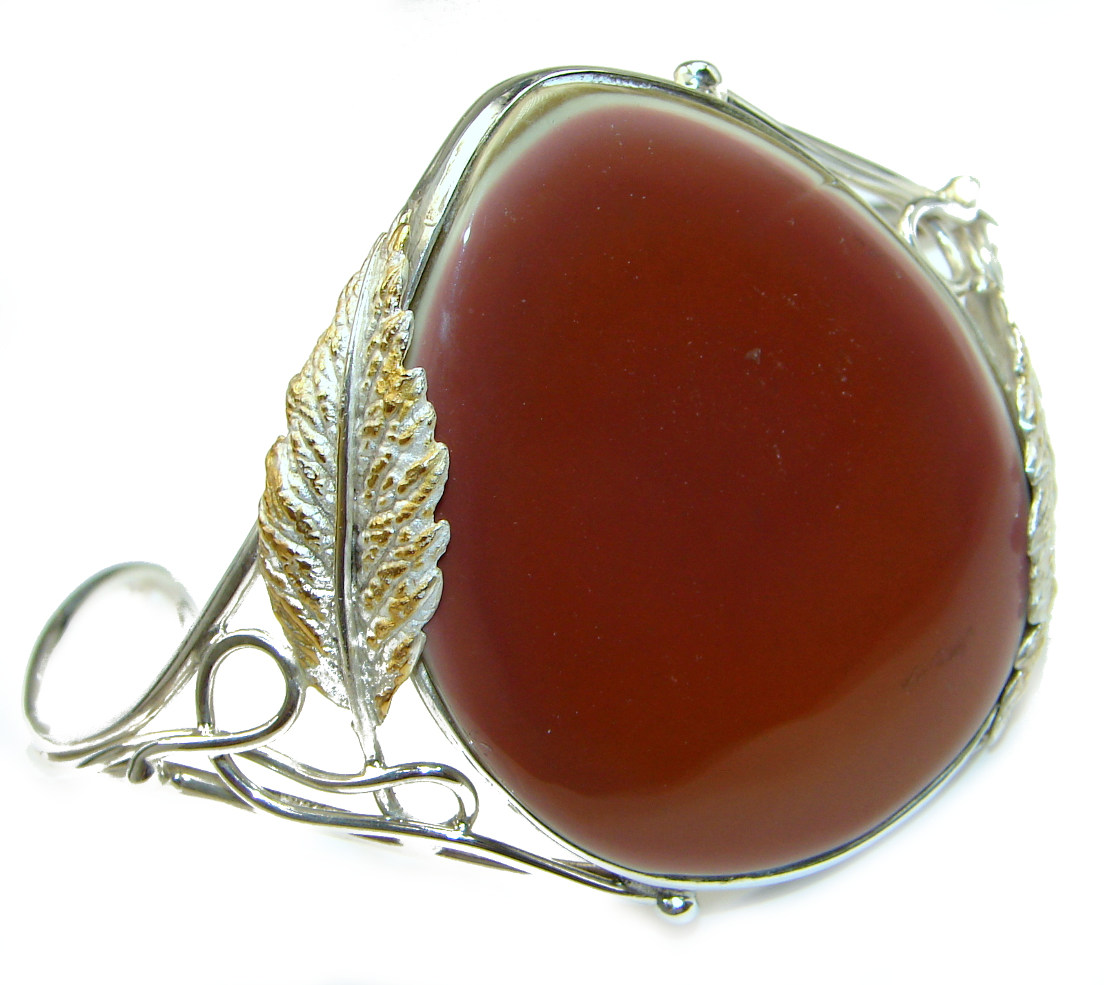 Rustic Design Bohemian Style Excellent quality Imperial Jasper .925 Sterling Silver Bracelet / Cuff