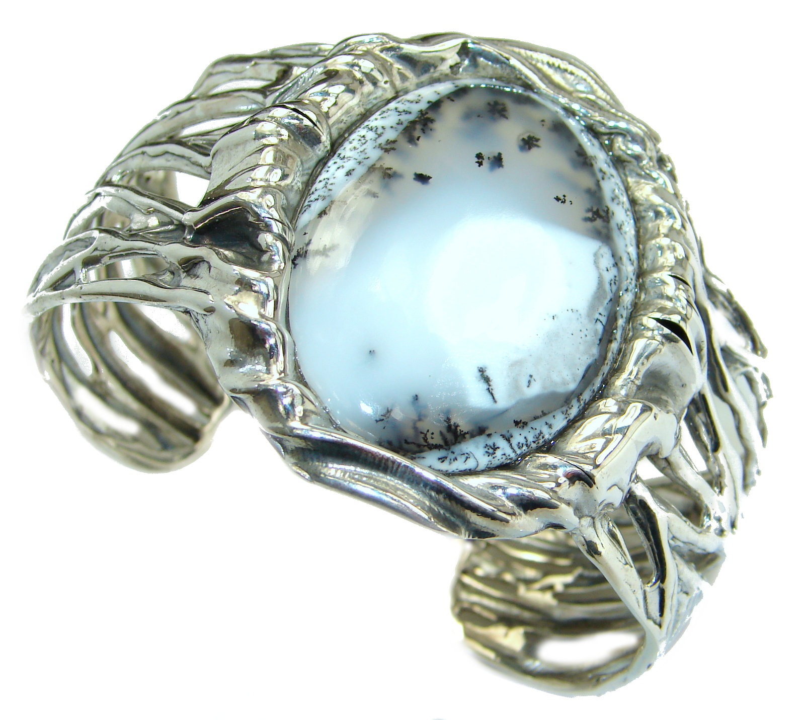 Huge Dendritic Agate oxidized .925 Sterling Silver handcrafted Cuff/Bracelet