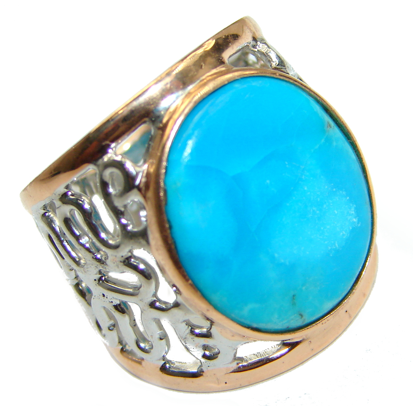 Genuine Sleeping Beauty Turquoise Gold over .925 Sterling Silver Ring size 7 1/4