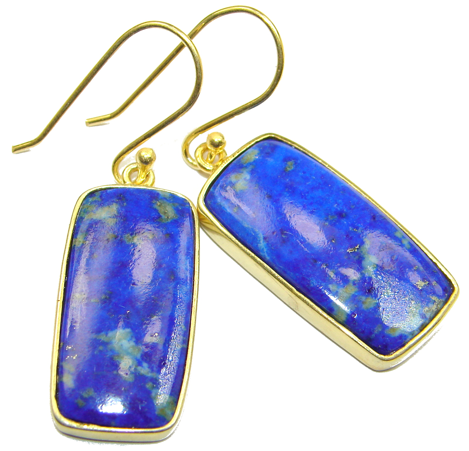 Perfect genuine Blue Lapis Lazuli gold over .925 Sterling Silver handmade earrings