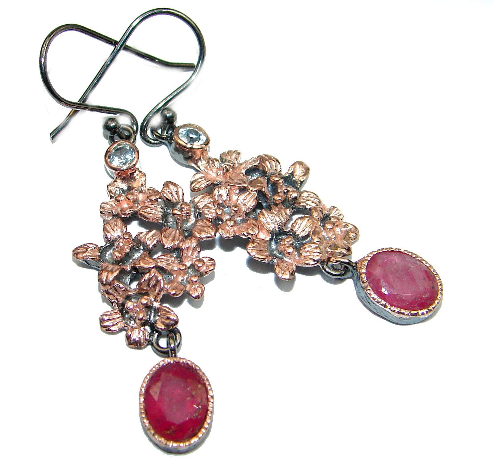 Unique Ruby Gold over .925 Sterling Silver handmade earrings