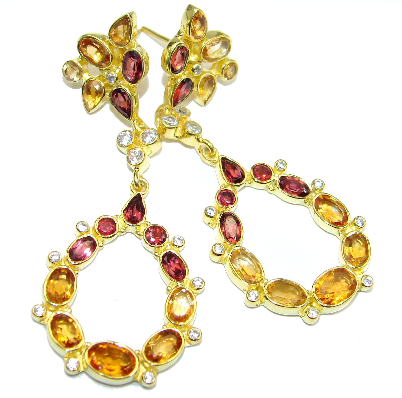 Secret Beauty Orange Sapphire 14K Gold over .925 Sterling Silver handcrafted earrings