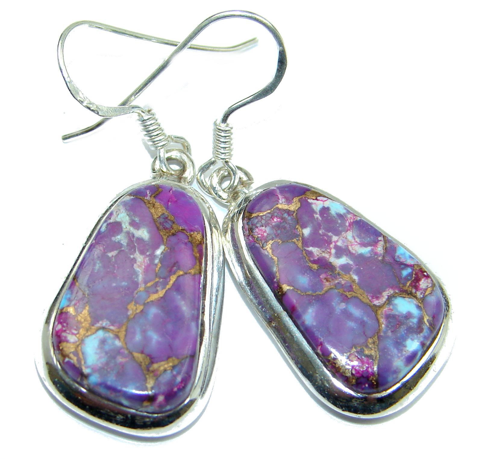 Purple Turquoise .925 Sterling Silver handmade Earrings