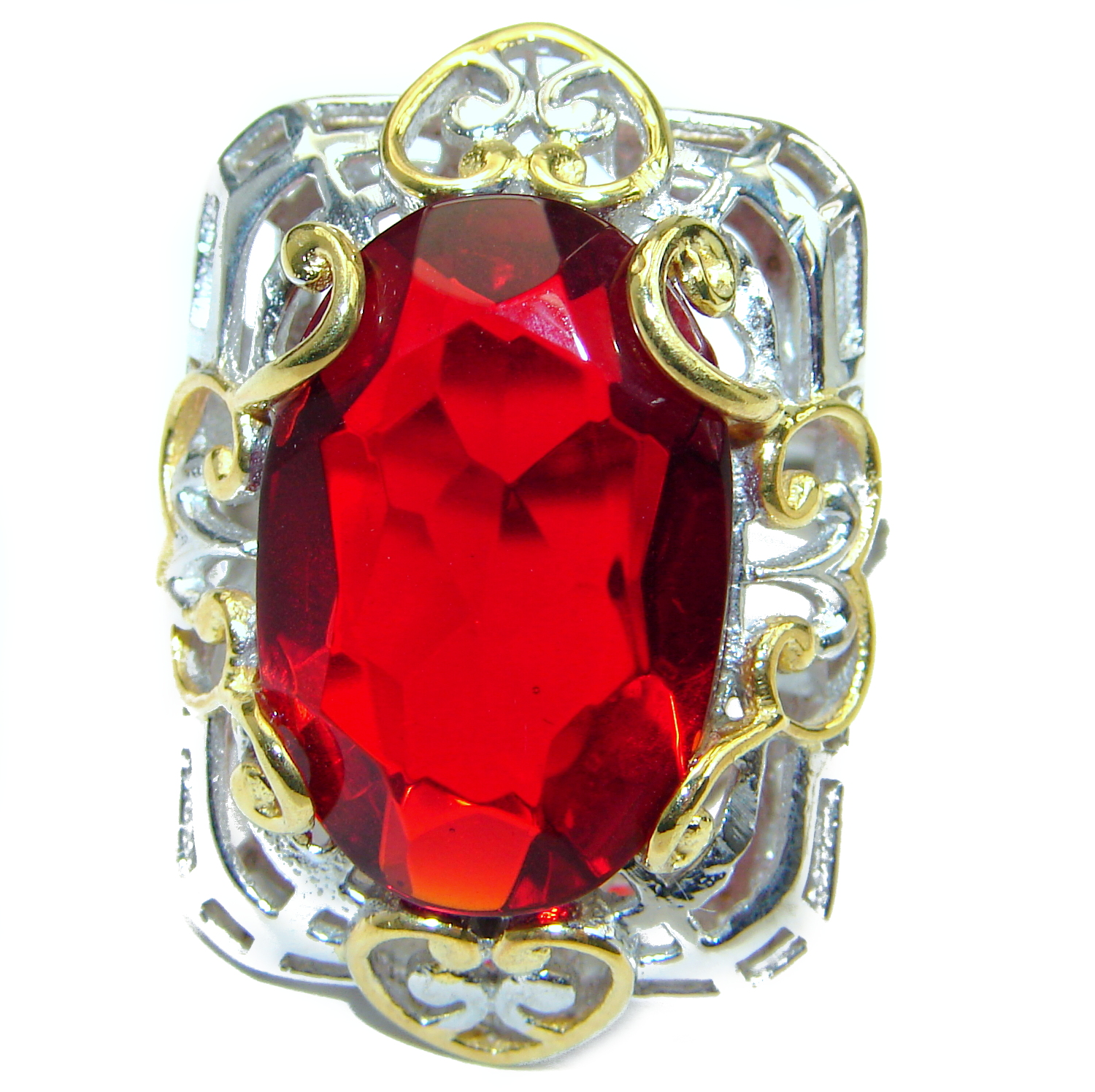 Ruby color Quartz Topaz two tones .925 Sterling Silver handcrafted Ring s. 7 1/2