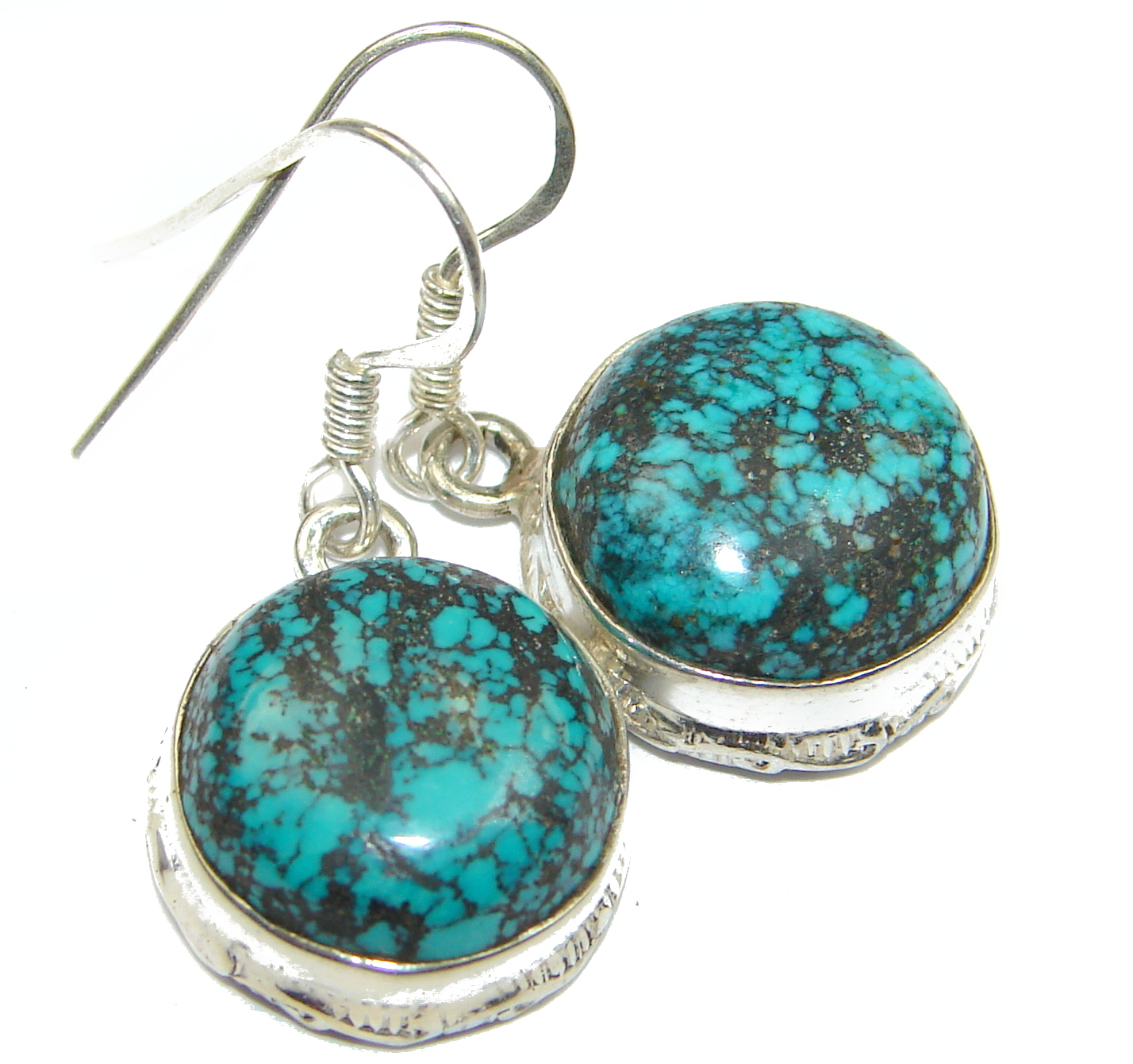 Solid Turquoise .925 Sterling Silver earrings