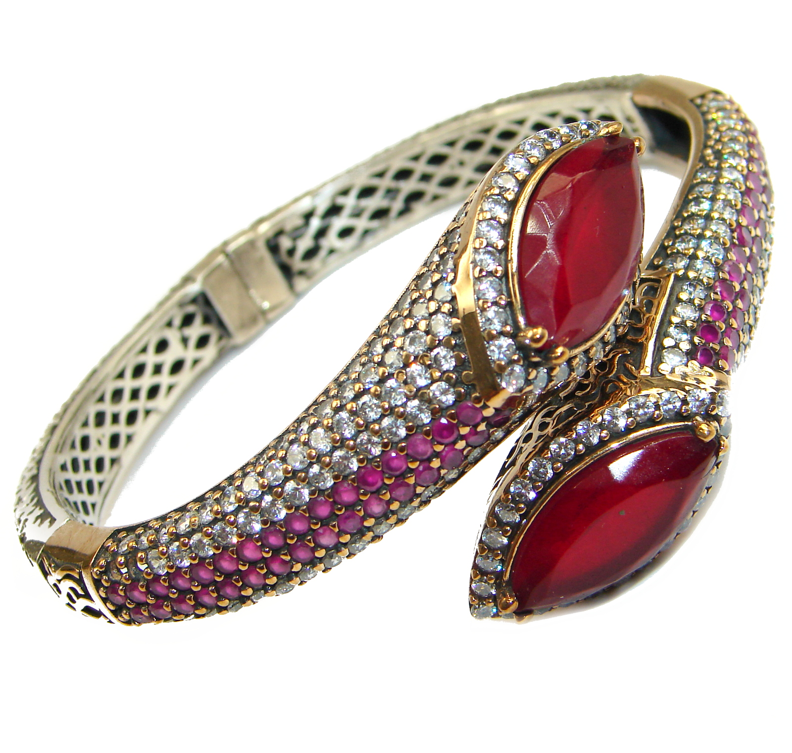 Victorian Style Created Red Ruby & White Topaz Copper over Sterling Silver Bracelet bangle