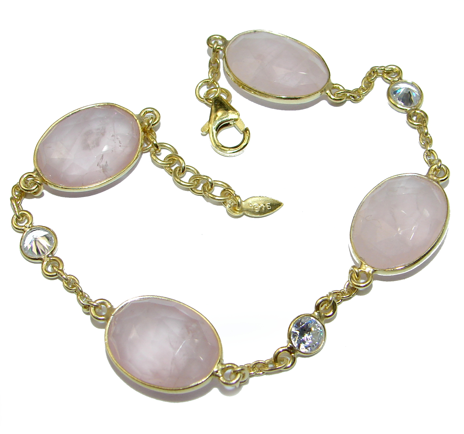Natural Rose Quartz Gold over .925 Sterling Silver handmade Bracelet