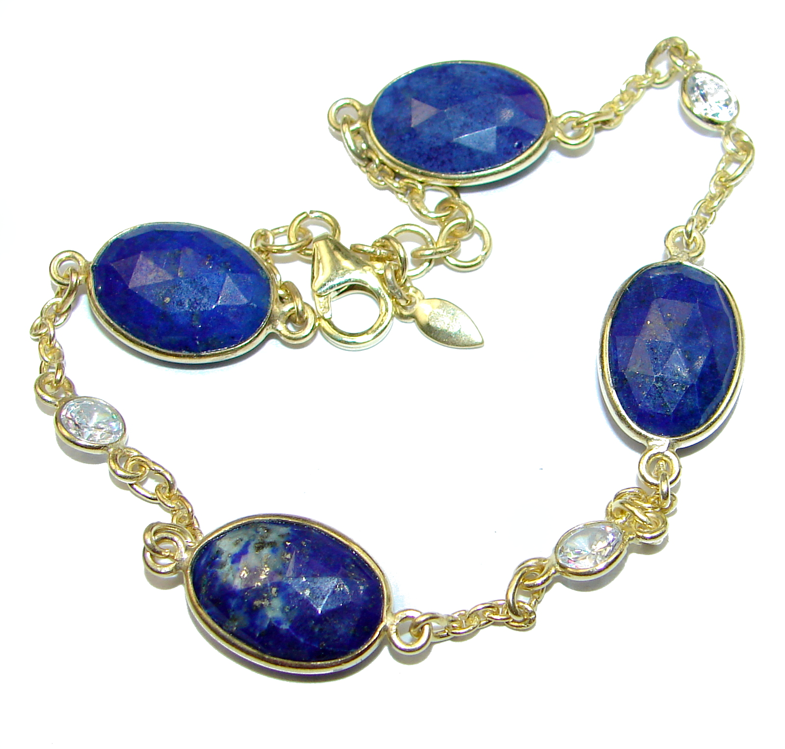 Flawless Passion Lapis Lazuli Gold over .925 Sterling Silver Bracelet