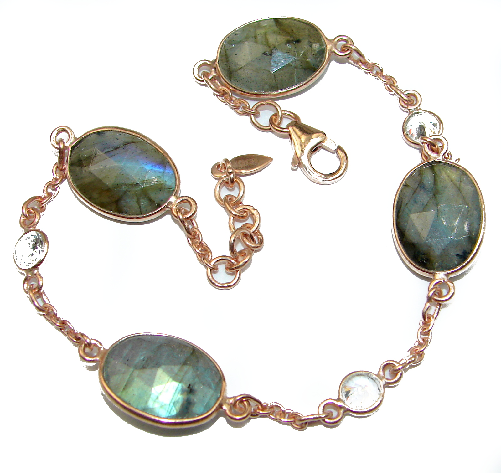 The Highest Quality Fire Labradorite .925 Sterling Silver handcrafted Bracelet