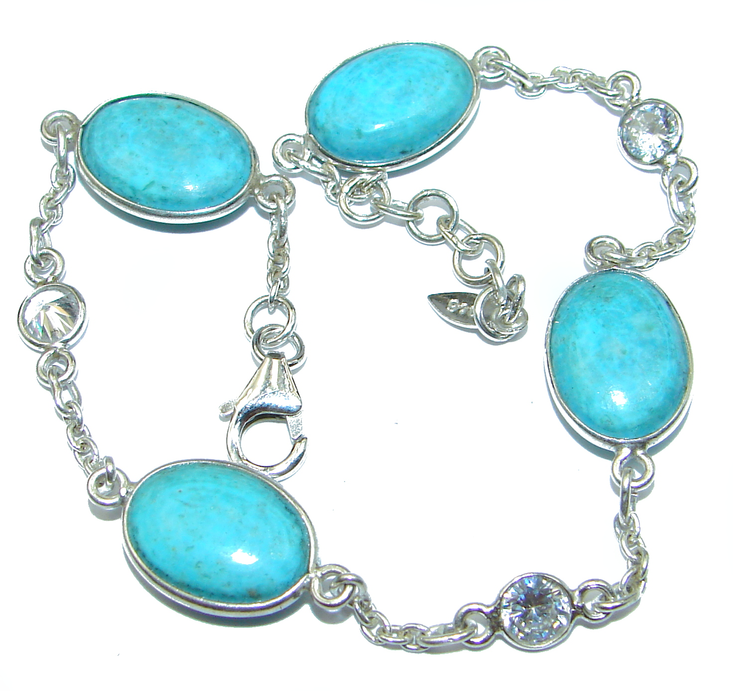 Natural Sleeping Beauty Turquoise .925 Sterling Silver handmade Bracelet