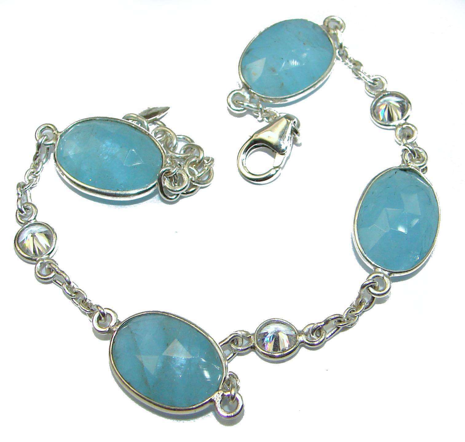 Genuine Aquamarine .925 Sterling Silver handcrafted Bracelet