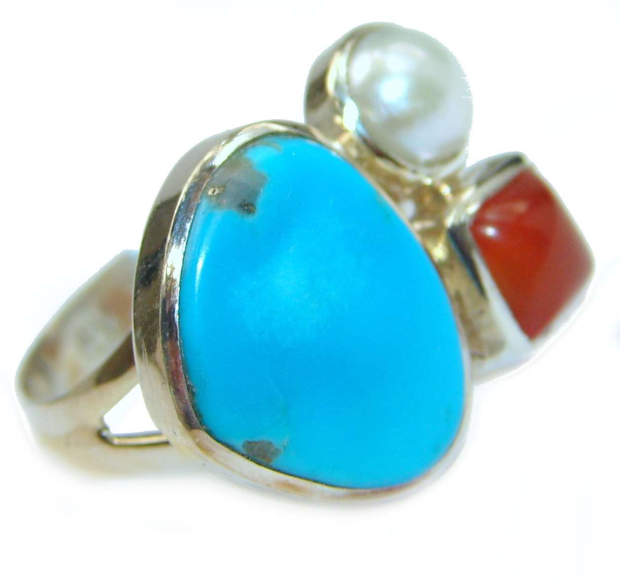 Genuine Sleeping Beauty Turquoise .925 Sterling Silver Ring size 7 adjustable