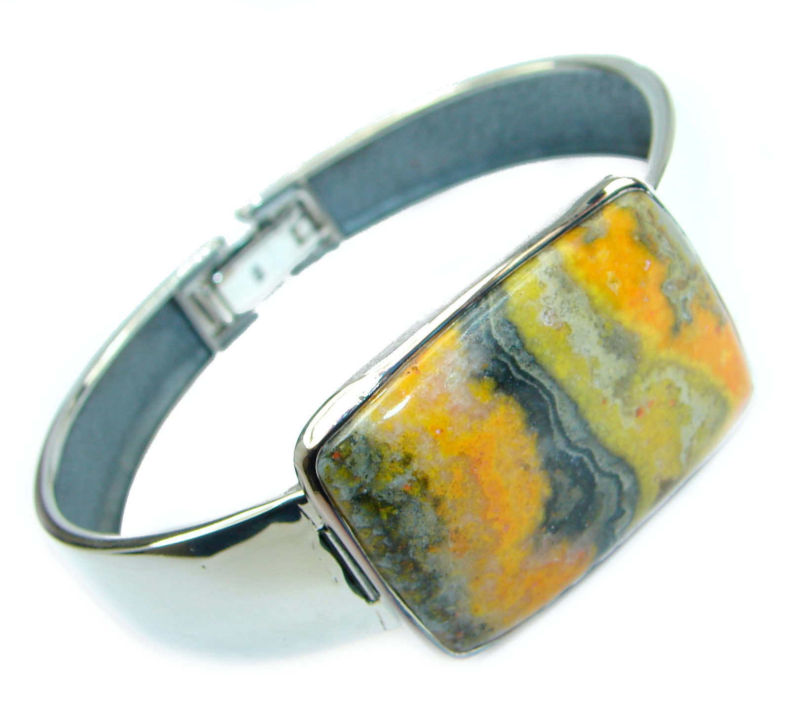 Genuine Volcanic Bumble Bee Jasper .925 Sterling Silver handcrafted Bracelet