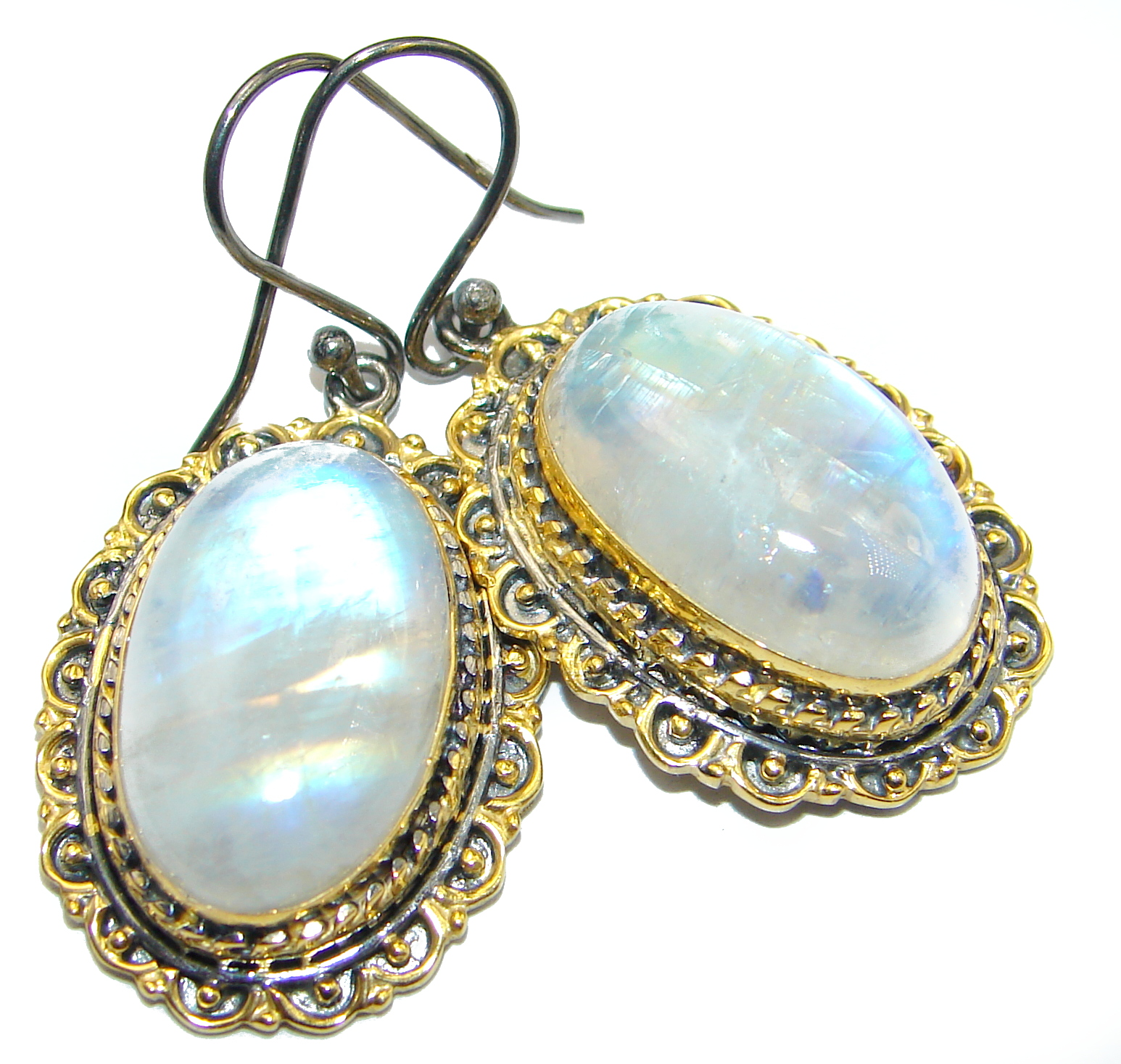 Vintage Design Fire Moonstone 18K Gold over .925 Sterling Silver handcrafted Earrings