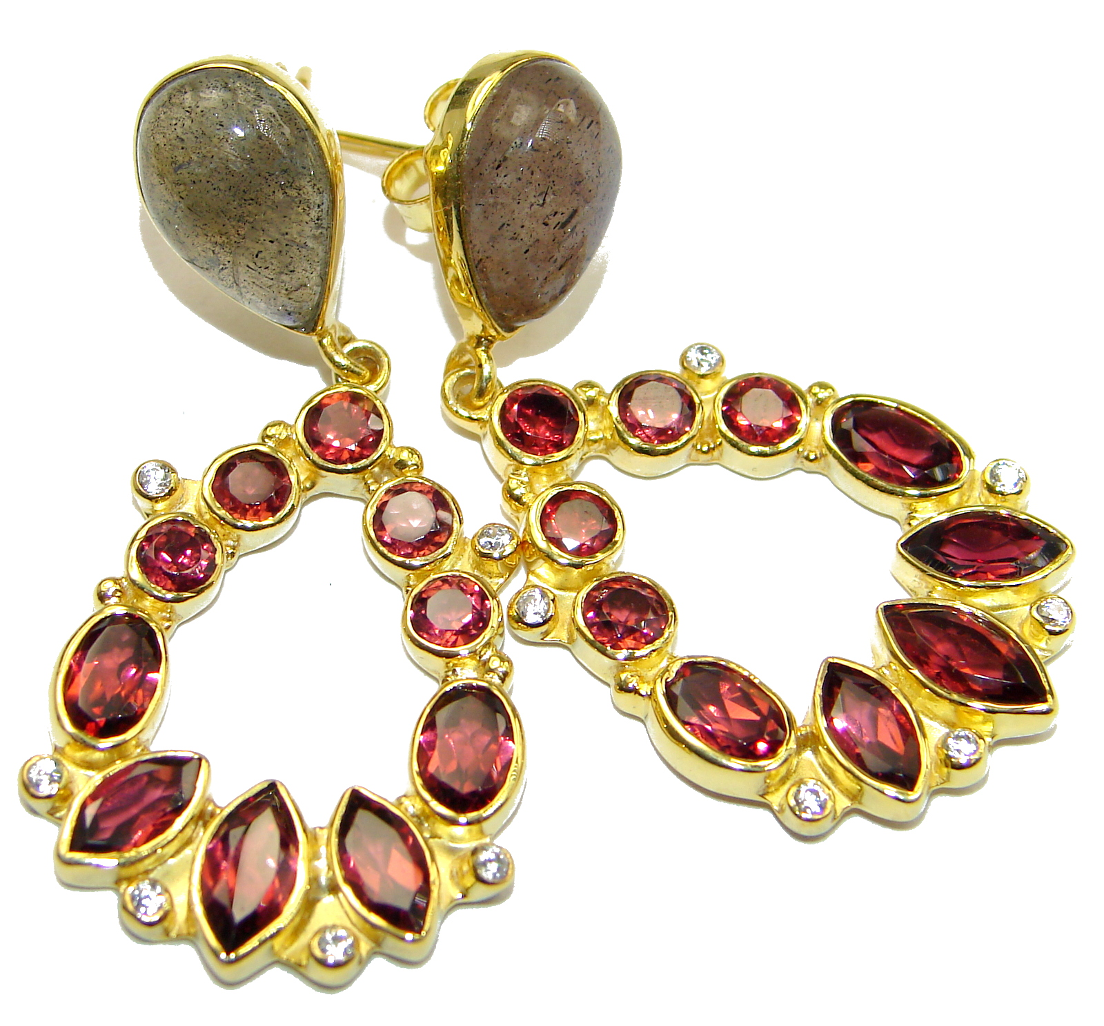 Spectacular Authentic Garnet 14KGold over .925 Sterling Silver handmade earrings