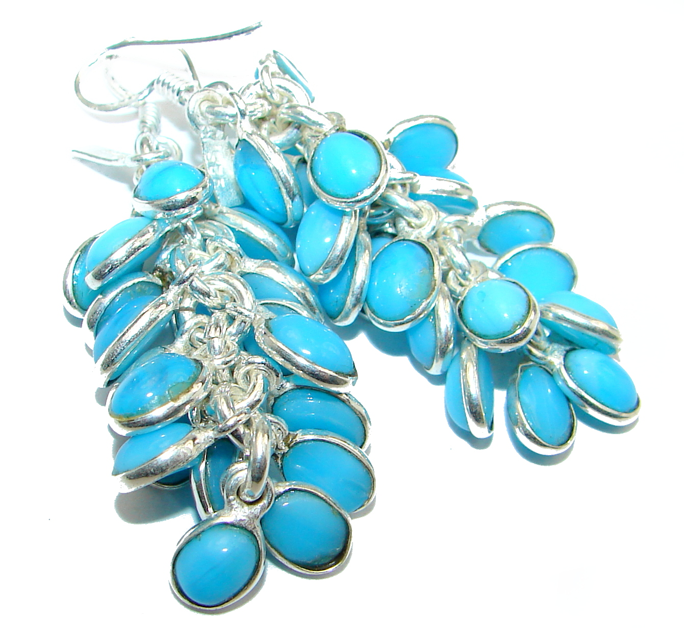 Gorgeous lab. Turquoise .925 Sterling Silver handcrafted earrings