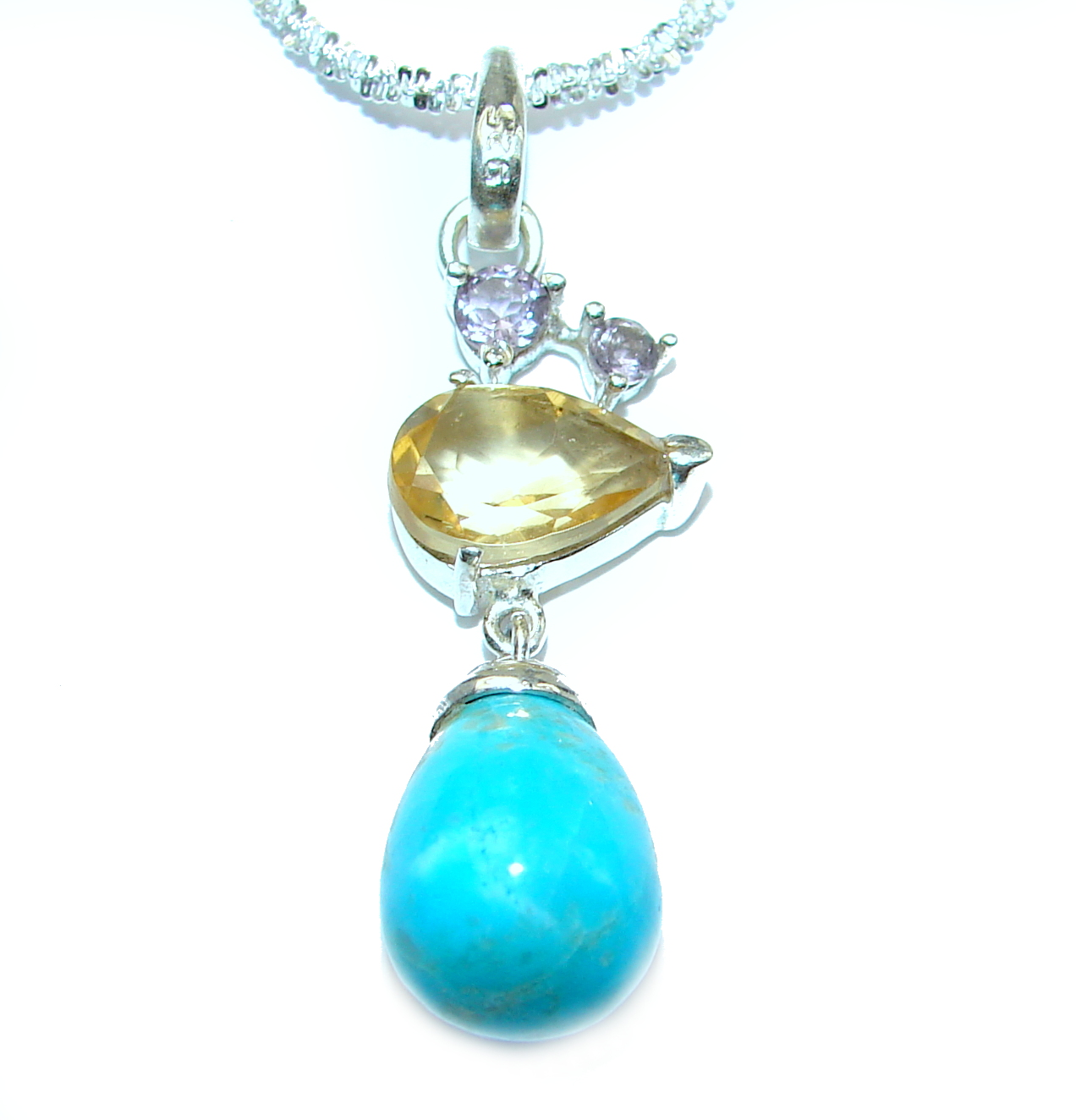 Sleeping Beauty Turquoise .925 Sterling Silver handcrafted necklace