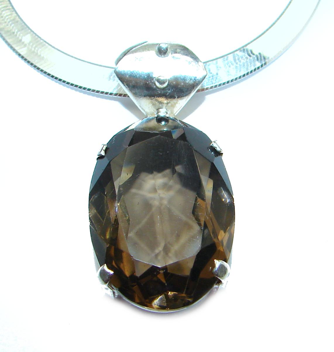 Cleopatra Smoky Topaz .925 Sterling Silver handmade necklace