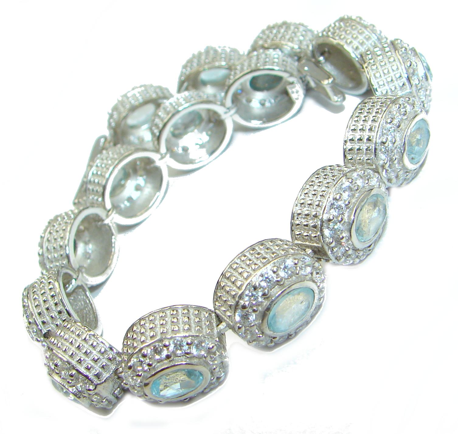 Authentic Swiss Blue Topaz White Topaz .925 Sterling Silver handmade Bracelet