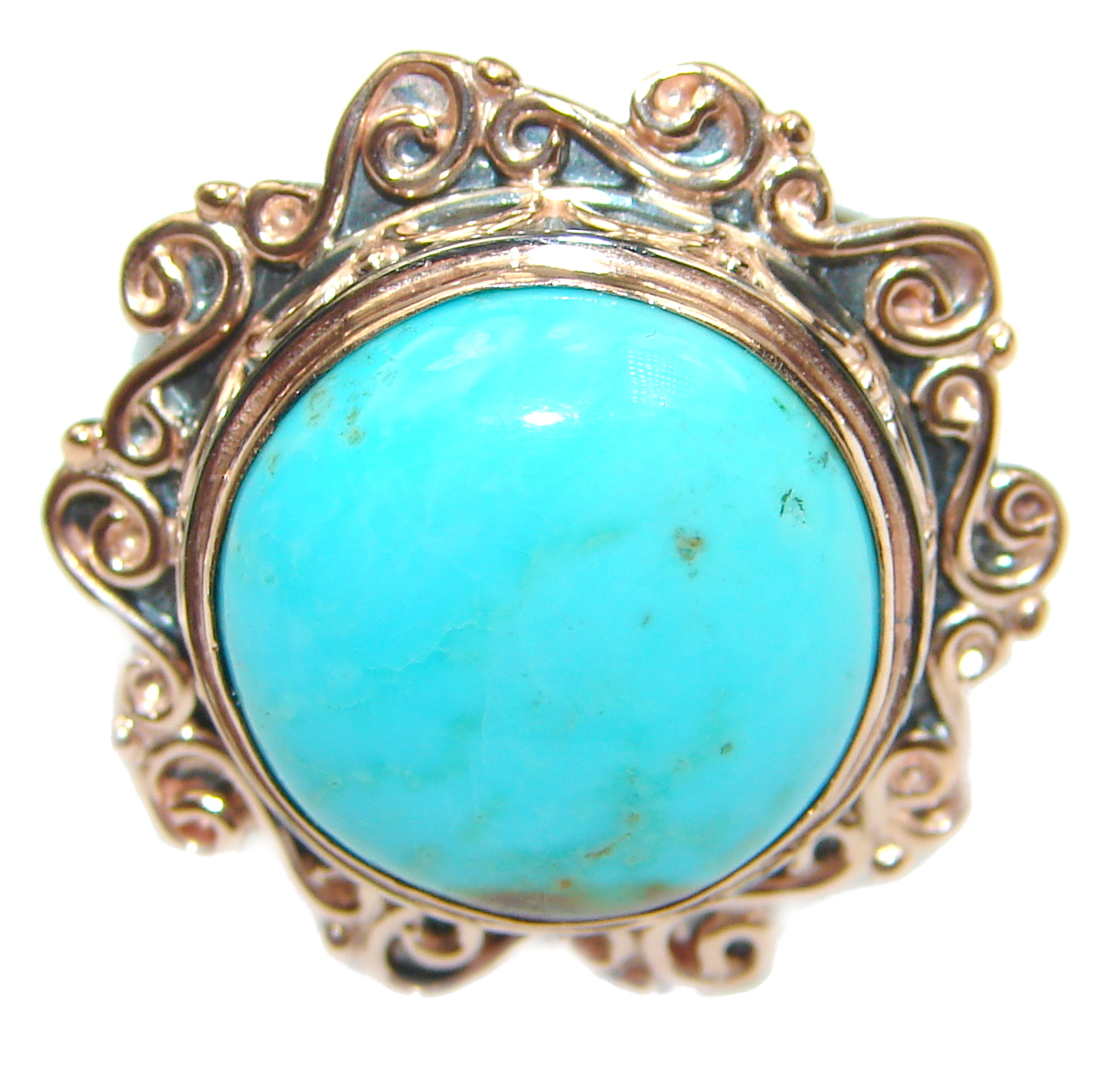 Genuine Sleeping Beauty Turquoise Rose Gold over .925 Sterling Silver Ring size 7 adjustable