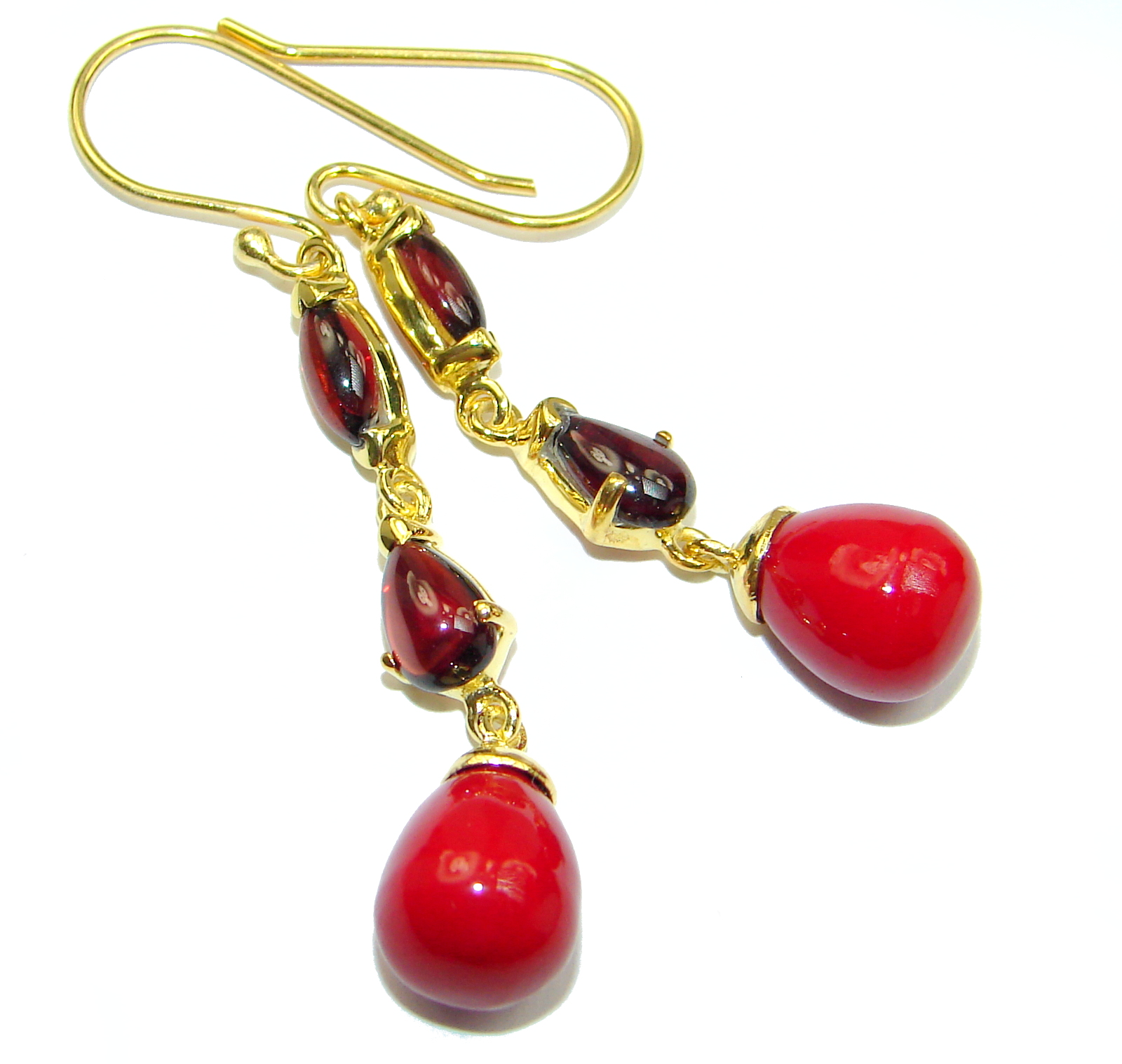 Genuine Red Fossilized Coral 14K Gold over