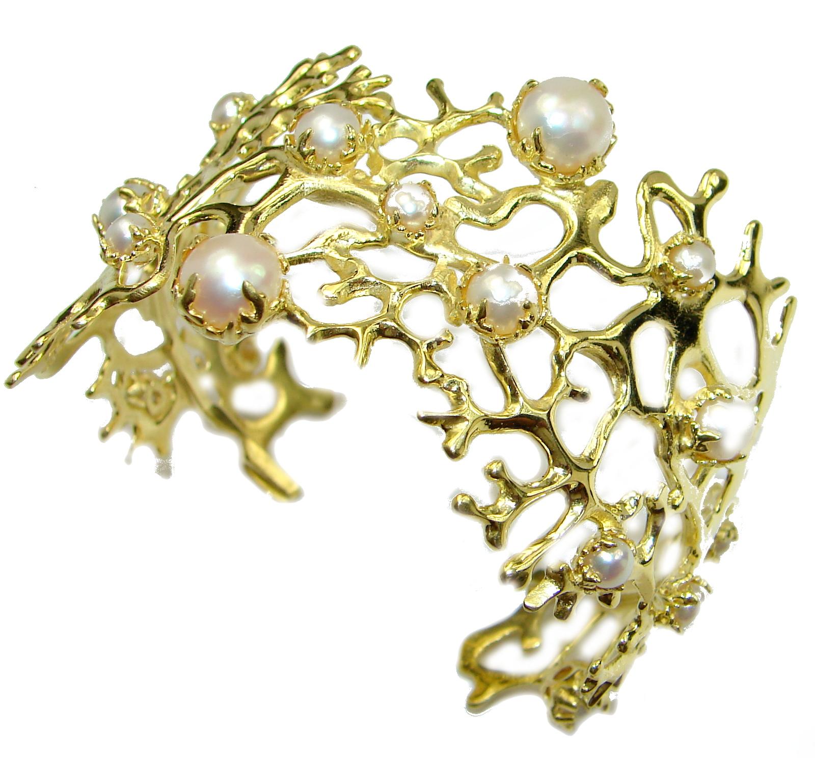 Big Dreamer Fresh Water Pearl 14K Gold over .925 Sterling Silver Bracelet / Cuff